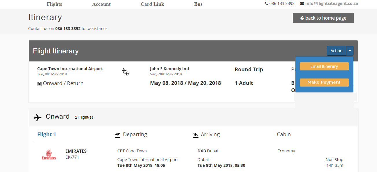 Reserved booking actions